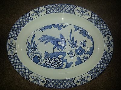 Yuan Wood & Sons England Ceramic Platter Plate With Blue Design 12 Inch X 9.3