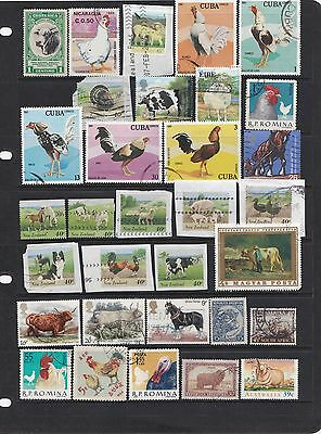 FARM ANIMALS stamps, 2 scans, cards not included.