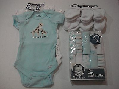 Gerber Unisex 19 Piece Bundle Neutral NEW Various Sizes Teal Safari Set