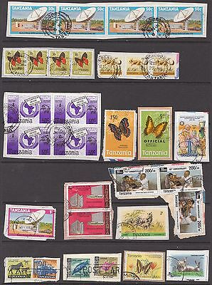 TANZANIA Used on paper, includes 1973 5/- butterfly ovptd OFFICIAL,