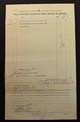 Antique 1919 State of NY Stock Transfer Tax Bureau Refund Sheet Jerome J Danzig