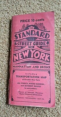 1942 The Standard Street Guide to  New York Manhattan and Bronx Geographia Map