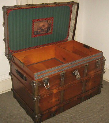 Antique Steamer Trunk Vintage Victorian Flat Top Lg Wooden Travel Chest Tray&key