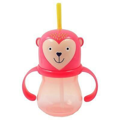Nwt Pink Monkey Rotating Handles Bpa Proof 9.5 Oz Toddler Straw Sippy Cup