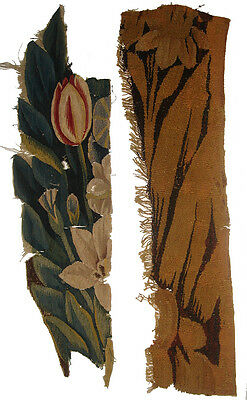 Two Antique Verdure Tapestry Fragments with Flowers