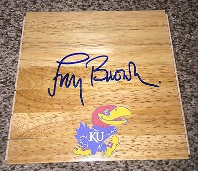 Coach Larry Brown Signed Kansas Jayhawks Floorboard 1988 National Champs
