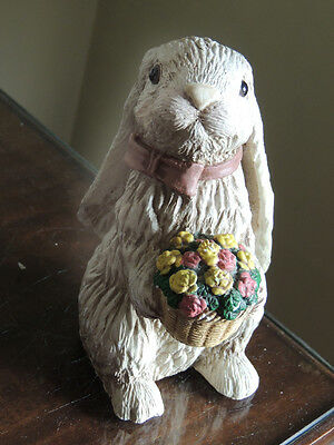 Delightful Rabbit Ornament with a Bunch of Flowers
