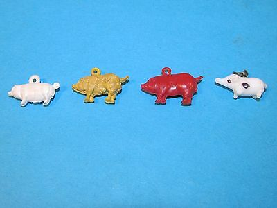 4 Vintage PIG Gumball Cracker Jack Toy Charm Prize... 1 Is Glass ... Cool !!