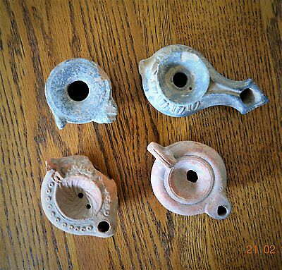 Lot of 4 Assorted Ancient Clay Small Oil Lamps from the Holy Land,