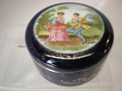Vintage Cobalt Blue & Gold Porcelain Trinket Box Courting Scene Japan