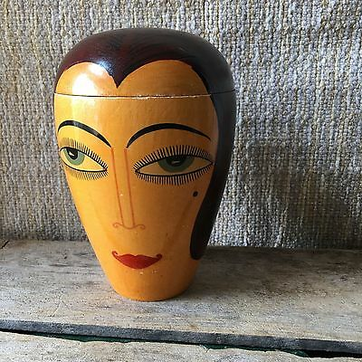 Vintage Antique French Lady's Head Box Art Deco Wooden Hand Painted France Wood