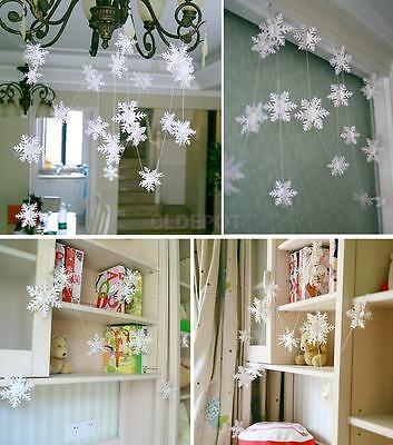 3m 3D Paper Snow Laser Cut for Christmas Garland Tree Hanging Ornament White