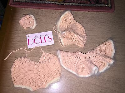 Vintage soft pink knit hat, skirt and panties for antique doll