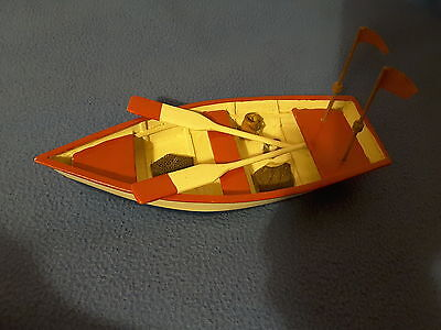 vintage hand made wooden model fishing boat /dinghy painted red and white