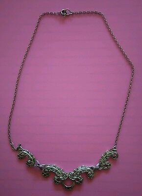 Pretty, vintage marcasite and chrome metal necklace