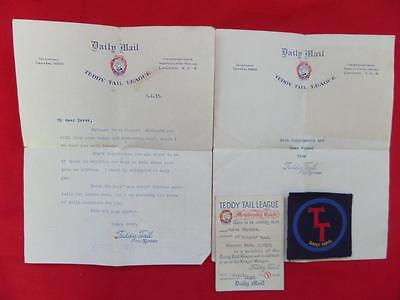 Teddy Tail League Badge, Membership Card, Letters dated 1933 - Daily Mail