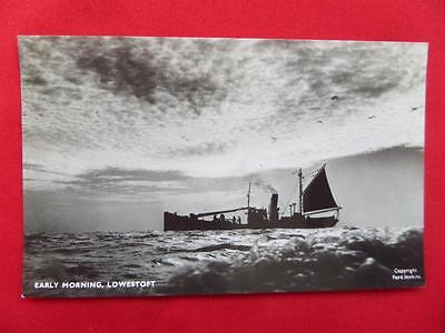 Lowestoft Drifters in the Early Morning Postcard - Real Photo