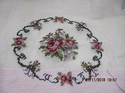 Needlepoint Crewel Canvas Embroidery Floral Pillow Chair handwork not finished