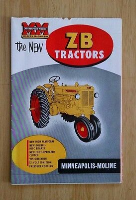 Minneapolis Moline The New ZB Tractors 20 Page Sales Brochure