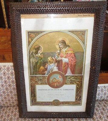 Antique Tramp Folk Art  Wall Frame Carved Wood with Communion Picture