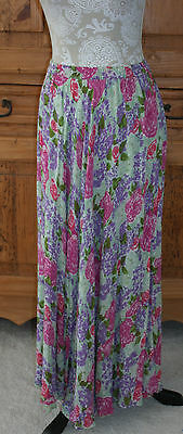 Women's Reversible Rayon Floral Maxi Broomstick Skirt Elastic Waist S