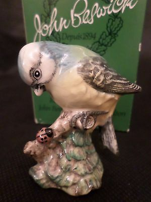 Rare Beswick Figure Of A Vintage Blue Tit Looking At A Ladybird (With Box)
