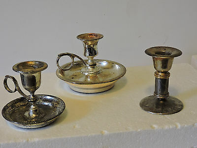 Vtg Lot Of 3 Silver Plated Candle Sticks Holders