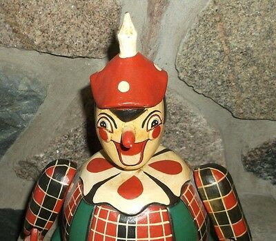 Vintage Folk Art Hand Carved Circus Clown Jester Bank Wooden!!