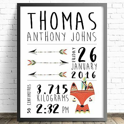 Personalised Baby Nursery Decor Wall Art Print, Birth Announcement,  -Tribal Fox