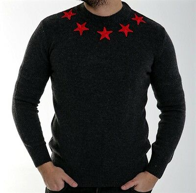 BNWT Givenchy Knit Jumper/Sweater Stars Patch Embroidered, Cuban Fit; Size L