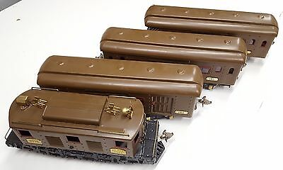 Ives Brown 3236 w/ 184 185 & 186 Passenger Train Cars Parlor Club Observation
