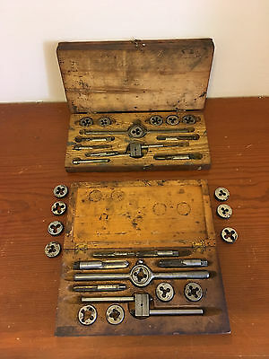 3 Piece Wooden 2 Tiered Box Star Tap & Die Set Made In USA & A Second + Extras