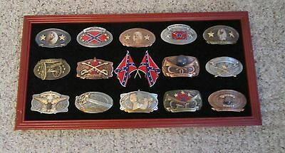 Collection Of 14 Civil War Confederate Army Reproduction Belt Buckles Framed