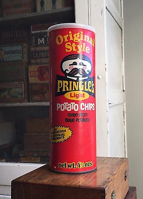 Vintage Old Original Pringle's Light Potato Chip Can Package Canister w/Lid