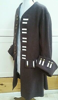 Mens brown wool frock coat Regency pirate fancy dress jack sparrow costume