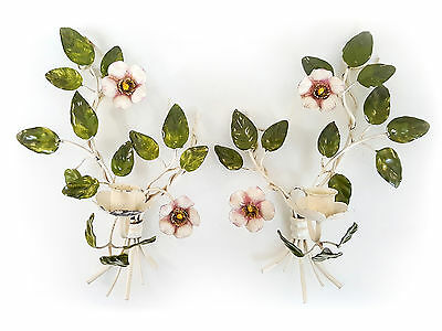 Pair Vintage Italian Tole Candle Holder Wall Sconces w/ Wild Roses Cottage Chic
