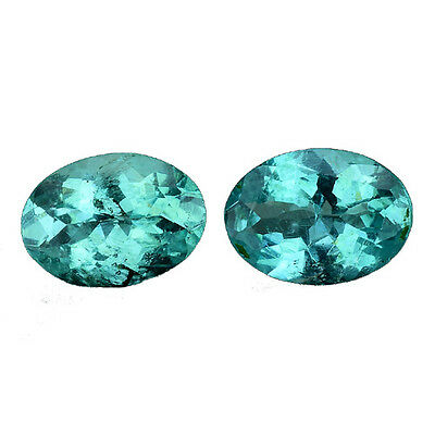 1.575Cts Extraordinary Luster Blue Green Natural Apatite Oval 2Pcs