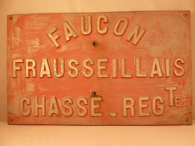 VINTAGE French heavy alloy metal advertising / warning sign - FALCON HUNTING ref