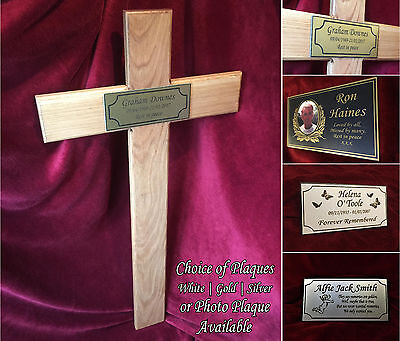 40'' Wooden Memorial Cross Solid Oak Grave Marker & Bespoke Personalised Plaque