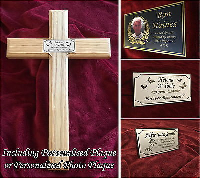 23'' Wooden Memorial Cross Solid Oak Grave Marker & Bespoke Personalised Plaque