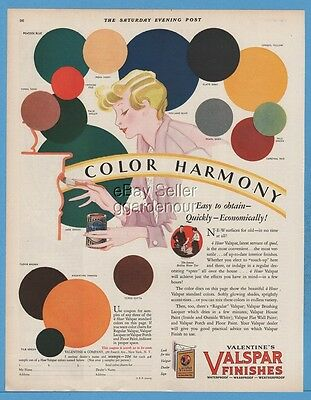 1929 Valentine's Valspar Finishes Color Harmony Women painting furniture art ad