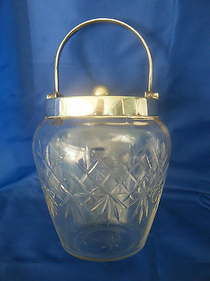 Silver Plated And Glass Biscuit Barrel With Handcut Pattern On Glass