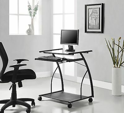 NEW Computer Desk Office Home PC Laptop Table Black Metal & Glass Shelves Drawer