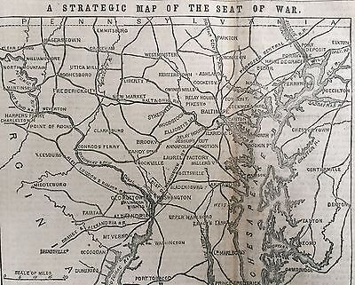 1861 CIVIL WAR newspaper lg FRONT PAGE MAP Seat of War MARYLAND Virginia SLAVERY