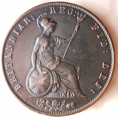 1844 Great Britain 1/2 Penny - High Grade Key Coin - Free Ship Worldwide - Hv26