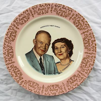 """DWIGHT EISENHOWER """"America's First Family"""" China Plate by Homer Laughlin 1957"""