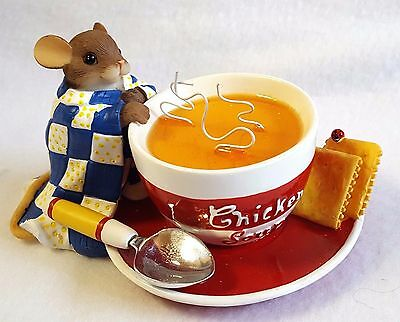 """Charming Tails Figurine Mouse With Soup Feel Better Fitz & Floyd Original Box 3"""""""