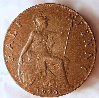 1920 GREAT BRITAIN 1/2 PENNY - Excellent Coin - FREE SHIP WORLDWIDE - HV26
