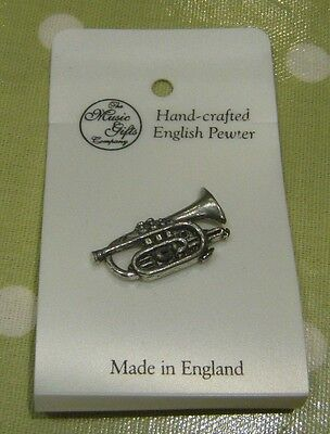 Handcrafted English Pewter Cornet. Double pin Lapel Badge.