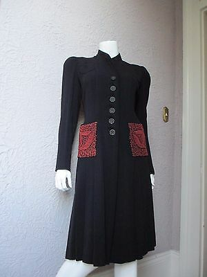 30's Vintage Embroidered Fitted Coat RARE med.